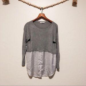 Zara Knit   scoop neck sweater button down shirt